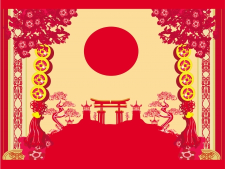 Chinese New Year card - Traditional  lanterns and Asian buildings Vector