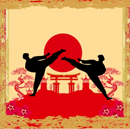 ju jutsu: karate occupations - Grunge background
