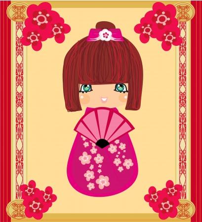 Kokeshi doll cartoon character , beautiful abstract card Vector