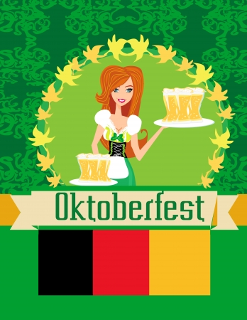 Pretty waitress with beer, Oktoberfest card Vector