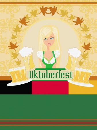 Pretty waitress with beer, Oktoberfest card Vector