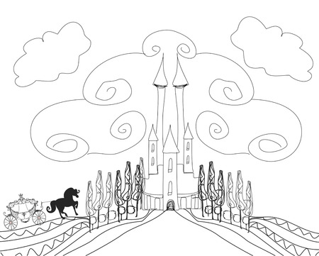 Silhouette of a horse carriage and a medieval castle - hand drawing illustration Vector