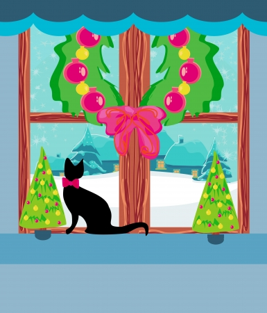 Christmas tree and cat at window  Vector