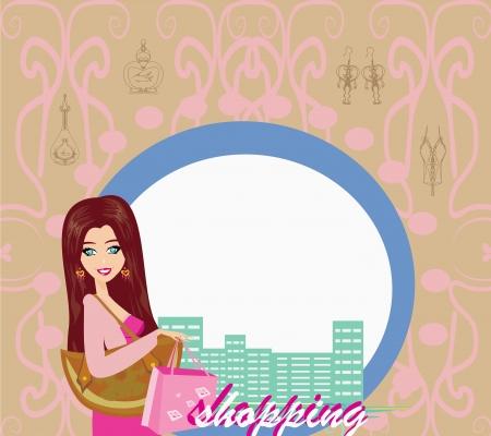 Stylish girl shopping , abstract card Vector