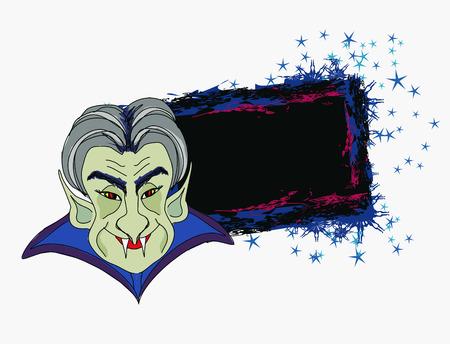 Cartoon Count Dracula , grunge Halloween frame Stock Vector - 22778730