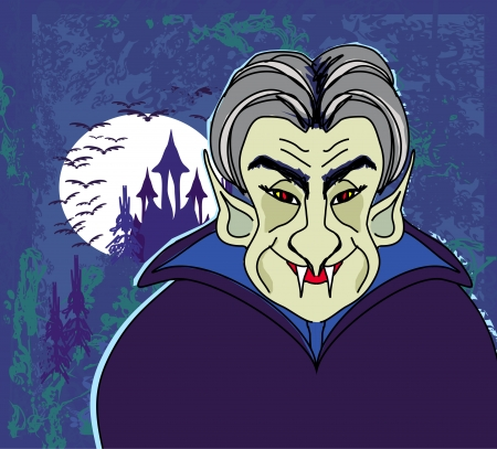 Halloween invitation or halloween card with dracula and dark castle  Vector