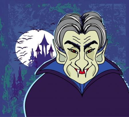 dracula castle: Halloween invitation or halloween card with dracula and dark castle