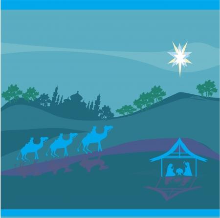 nativity scene: Biblical scene - birth of Jesus in Bethlehem.