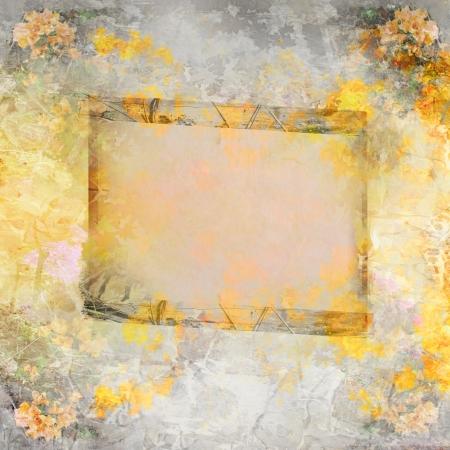 Wooden frame on autumn background  photo
