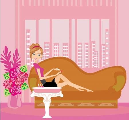 girl painting nails on the sofa  Vector