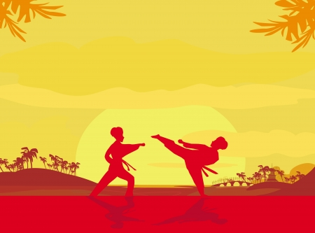 Fighting an enemy near the beach when the sun goes down  Vector