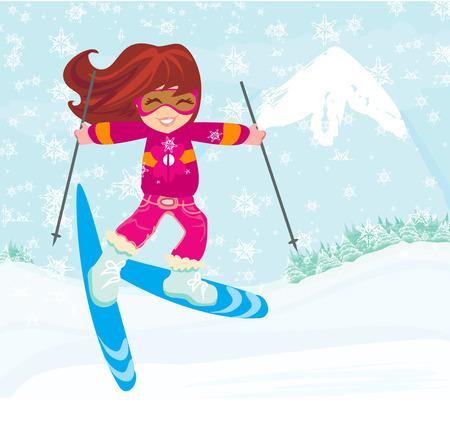 alpes suizos: Chica con esqu�s Vectores