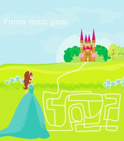 Funny maze game: the beauty princess find the way to her castle  Vector