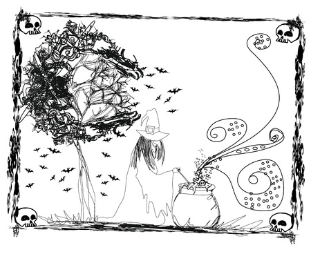 stirring: witch stirring a potion in cauldron