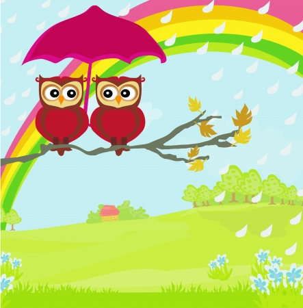 Owls couple under umbrella, autumn rainy day Vector