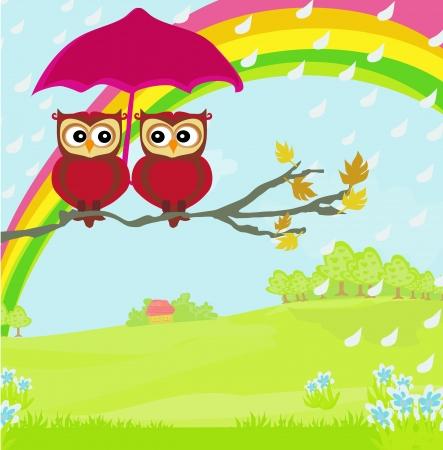 Owls couple under umbrella, autumn rainy day Illustration