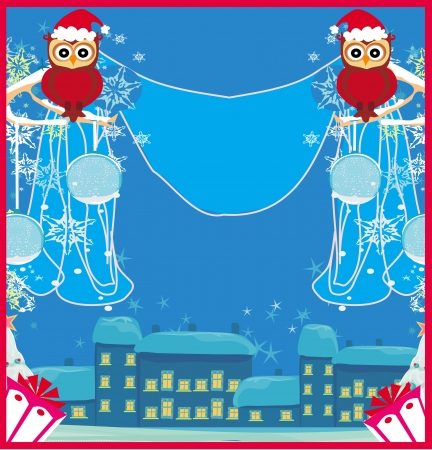 card with funny owls winter landscape Vector