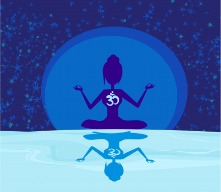 ohm: yoga with ohm symbol over moon Illustration