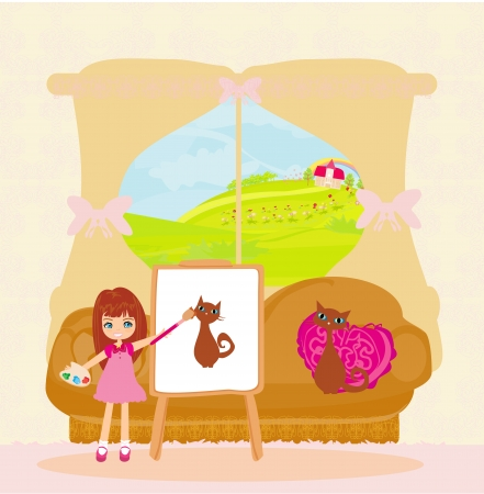 Little artist girl painting cat on large paper canvas  Vector