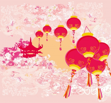 chinese pagoda: Chinese New Year card - Traditional lanterns and Asian buildings