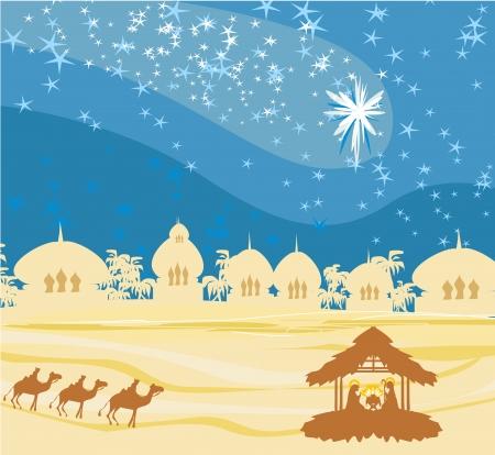 Bijbelse scène - de geboorte van Jezus in Bethlehem. Stock Illustratie