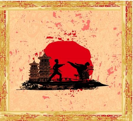 pankration: karate occupations - Grunge background
