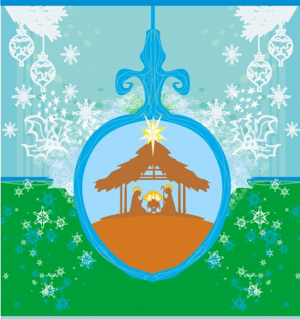 Christian Christmas nativity scene of baby Jesus in transparent ball hanging on blue background Vector