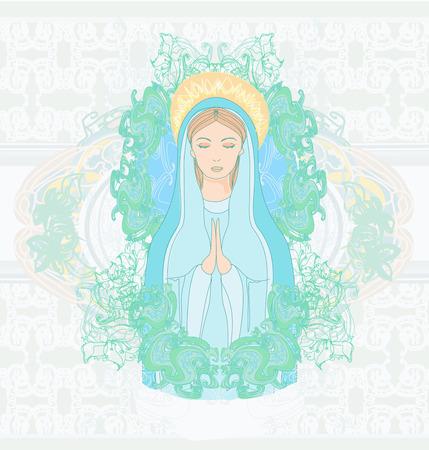 blessed: Blessed Virgin Mary portrait  Illustration