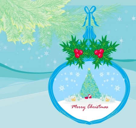 funny Santa Claus in transparent ball hanging on blue background Vector