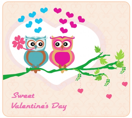 owls in love , sweet card design. Vector