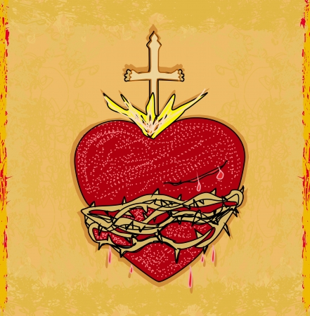 The Sacred Heart of Jesus on grunge background