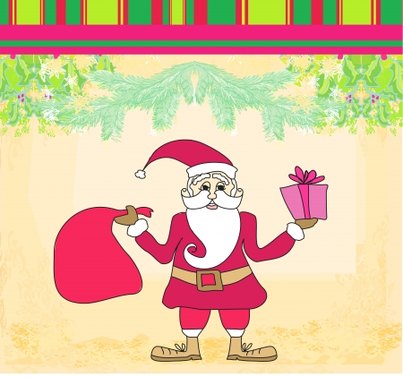 funny card with Santa Claus, Vintage Paper Texture Background  Vector