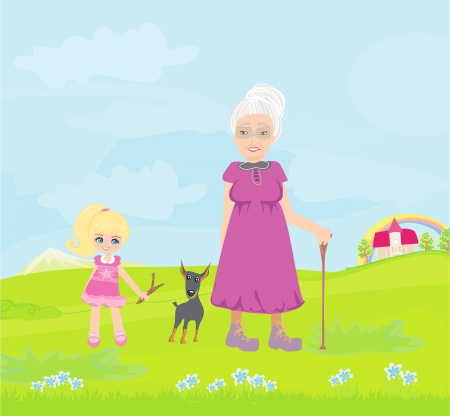 grandmother with granddaughter and dog on a walk in the park  Vector
