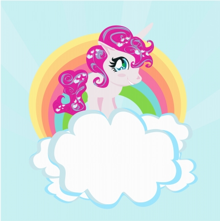 ponies: Card with a cute unicorn rainbow in the clouds.