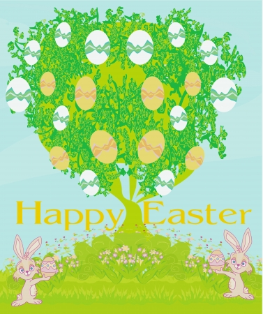 Illustration of happy Easter bunnies carrying egg  Illustration