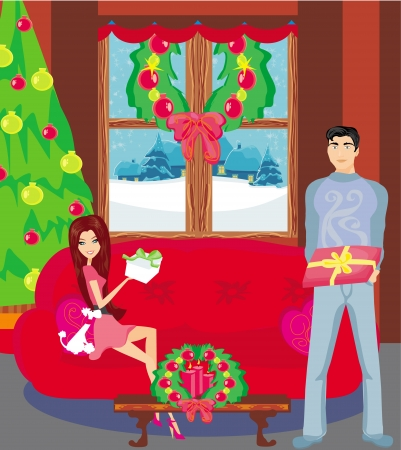 girl surprising a boy with a gift in Christmas night  Vector