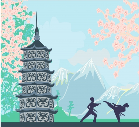 karate occupations - Chinese landscape,abstract ancient buildings  Vector