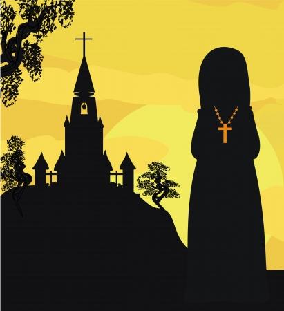 nun: nun praying in front of the church Illustration