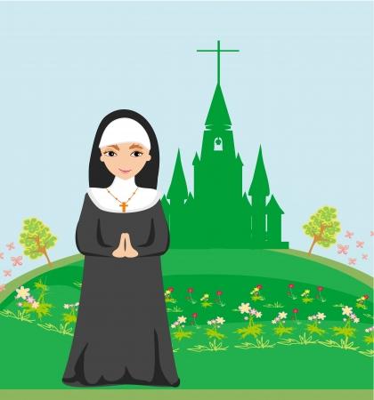 clergy: monja rezando en frente de la iglesia
