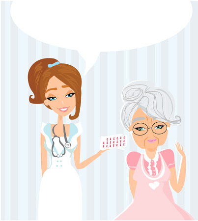 an elderly lady at the doctor in practice. consultation with the doctor. Stock Vector - 23470025