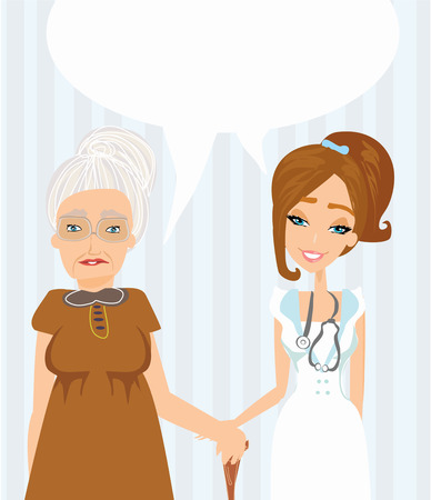an elderly lady at the doctor in practice. consultation with the doctor. Stock Vector - 23470023