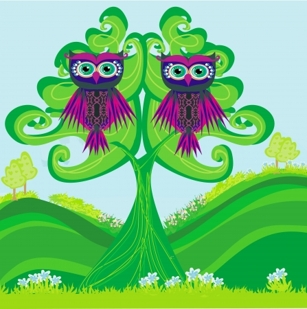 Owls couple sitting on a green tree Vector