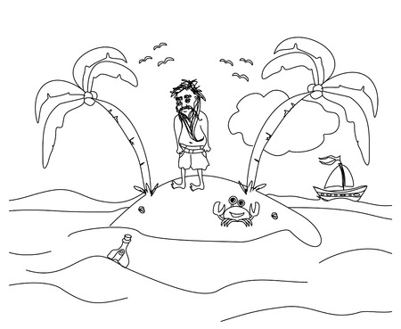castaway: Lonely the man living on a small desert island