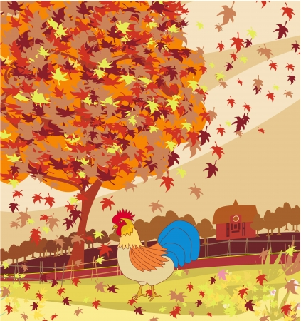 rooster and morning sun: rooster walking through leaves Illustration