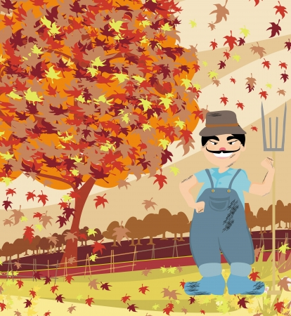 smiling redneck in Autumn landscape Vector