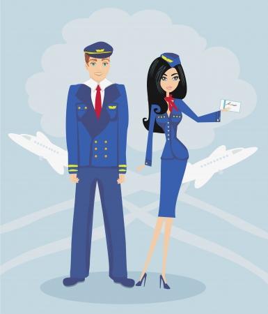 azafata de vuelo: Un piloto y una azafata en uniforme Vectores
