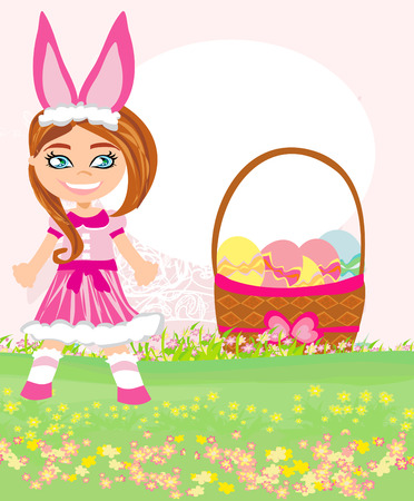 girl in bunny costume Stock Vector - 23648249