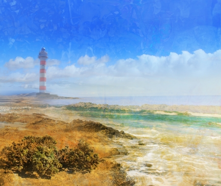 Day view of a old lighthouse on a rock island, grunge texture photo