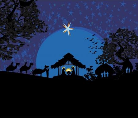 Scène biblique - la naissance de Jésus à Bethléem. Vecteurs