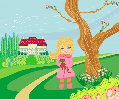 Little girl is walking walking in spring day with a cat in her arms  Vector